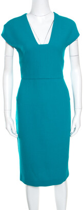 Roland Mouret Sea Green Wool Crepe Cutout Back Detail Egerton Dress L