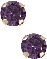 Candela 10K Yellow Gold Amethyst Color CZ Stud Earrings