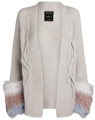 Izaak Azanei Cable Knit Fur-Trim Cardigan