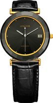 Jowissa Women's J9.013.L Ceramic Classic Gold PVD Stainless Steel Black Genuine Leather Date Watch