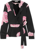Ganni Ruffled Floral-print Silk Crepe De Chine Wrap Top - Black