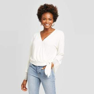 Xhilaration Women's Long Sleeve V-Neck Lace Trim Wrap Knit Top - XhilarationTM Cream