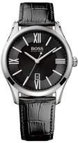 HUGO BOSS Men's Ambassador Croc Embossed Leather Watch, 43mm