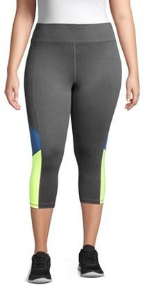 Just My Size Women's Plus Active Colorblocked Performance Capri Leggings