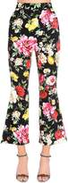 Dolce & Gabbana Roses Printed Flared Cotton Drill Pants