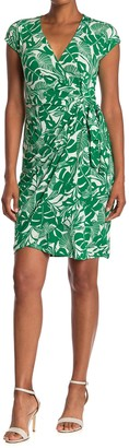 Maggy London Botanical Print Cap Sleeve Wrap Dress