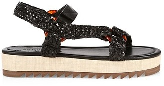 Schutz Jennie Woven Leather Sport Sandals
