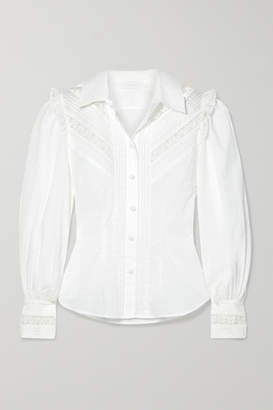 Zimmermann Honour Lace-trimmed Swiss-dot Cotton-voile Shirt - White