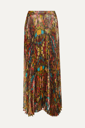 Alice + Olivia Katz Pleated Floral-print Metallic Silk-blend Maxi Skirt - US0
