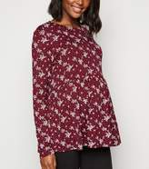 New Look Maternity Burgundy Ditsy Floral Peplum Top