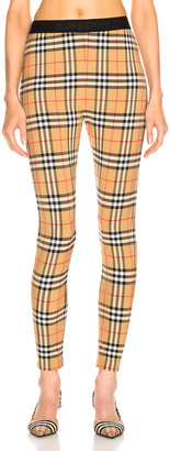 Burberry Logo Legging in Antique Yellow Check | FWRD