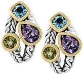 Effy Balissima by EFFYandreg; Multi-Gemstone Deco-Style Stud Earrings (5-1/10 ct. t.w.) in Sterling Silver and 18k Gold