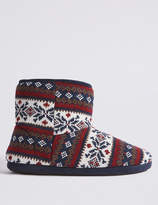 M&S CollectionMarks and Spencer Fairisle Slipper Boots with Freshfeet
