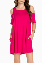 Sweet Pea Cold Shoulder Fuschia Dress