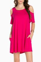 Sweet Pea Cold Shoulder Fuschia Dress