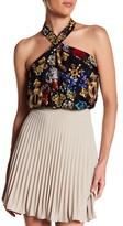 Nicole Miller Royal Flowers Silk Halter Shirt