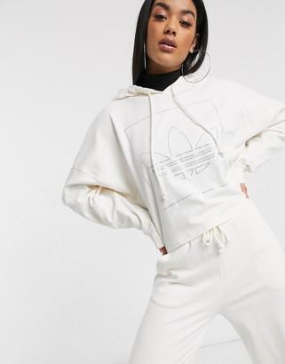 adidas Fakten diamante trefoil hoodie in white