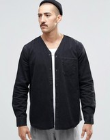 Weekday Tesla Denim Shirt Kimono Neck in Black