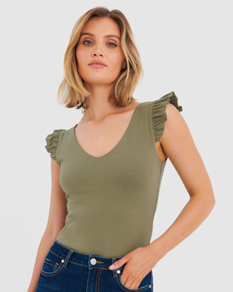 Forcast Women's Workwear Tops - Erin Ruffle Sleeve Tee - Size One Size, 8 at The Iconic