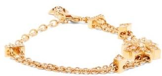 Versace Crystal Flower And Medusa Chain Bracelet - Gold