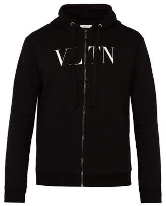 Valentino Vltn Logo Print Cotton Blend Hooded Sweatshirt - Mens - Black