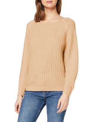 Dorothy Perkins Women's Camel Textured Wide Neck Jumper Pullover Sweater LGE