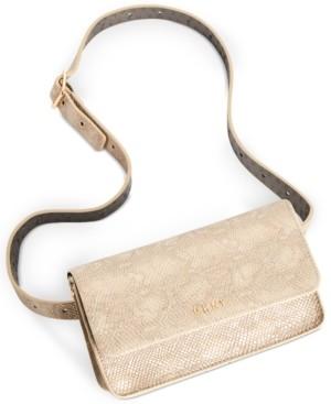 DKNY Metallic Snake-Embossed Convertible Belt Bag