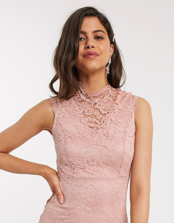 Thumbnail for your product : TFNC Bridesmaid mini lace dress in light pink