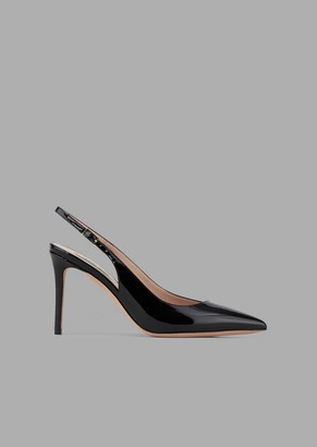 Giorgio Armani Patent Leather Slingbacks With Asymmetric Top Line
