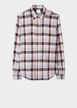 Men's Tailored-Fit Mauve And Black Check Cotton-Linen Shirt