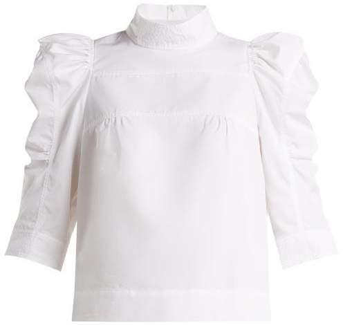 Chloé Puffed Sleeve Cotton Blouse - Womens - White