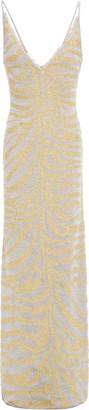 Herve Leger Metallic Zebra-print Stretch-knit Gown