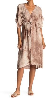 FAVLUX Tie Dye Dolman Sleeve Midi Dress