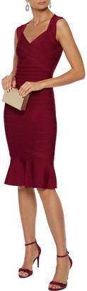Herve Leger Fluted Cutout Bandage Dress