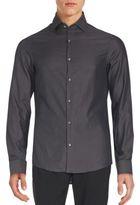Michael Kors Herringbone Cotton Long Sleeve Shirt