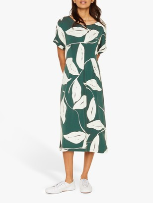 White Stuff Marli Leaf Print Midi Dress, Green