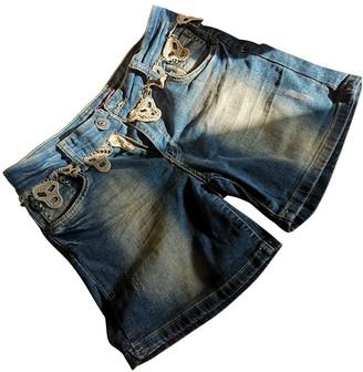 Philipp Plein Blue Cotton Shorts for Women
