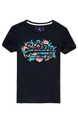 Superdry Women's Vintage Logo Puff Floral Entry Tee T-Shirt,(Size: 12)