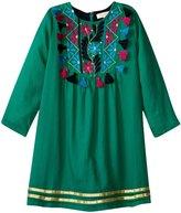 Pink Chicken Juliet Dress (Toddler/Kid) - Solid Emerald - 5 Years