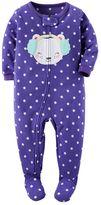 Carter's Baby Girl Animal Applique Fleece Footed Pajamas