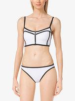 Michael Kors Zip-Front Contrast Bikini Top