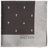 Alexander McQueen Skull and dot-jacquard silk pocket square