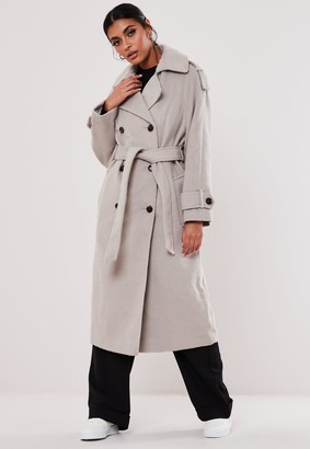 Missguided Grey Belted Oversized Trench Coat