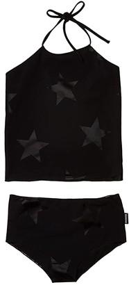 Nununu Star Collar Bikini (Little Kids/Big Kids) (Black) Girl's Swimwear Sets