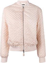 Givenchy pearl embellished bomber jacket - women - Cotton/Polyamide/Polyester/Viscose - 36