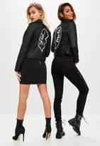 Missguided Black Faux Leather Mate Slogan Biker Jacket, Black