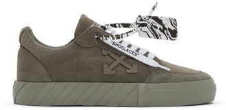 Off-White Green Suede Vulcanized Low Sneakers