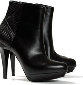 Woven elastic platform ankle boot