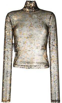 Just Cavalli Semi-Sheer Metallic Top