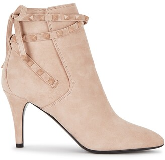 Valentino Rockstud Flair 85 blush suede ankle boots